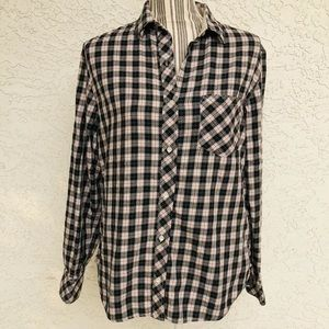 Victoria's Secret LS Silk Trim Plaid Shirt